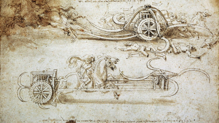 Leonardo da Vinci Studi di carri d'assalto falcati (1)
