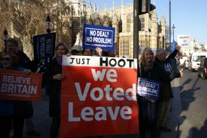 Una manifestazione a favore della Brexit