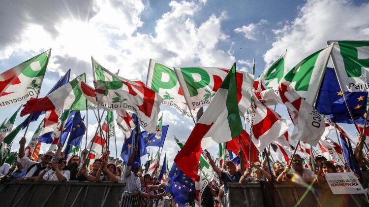 Manifestazione del Pd in piazza del Popolo